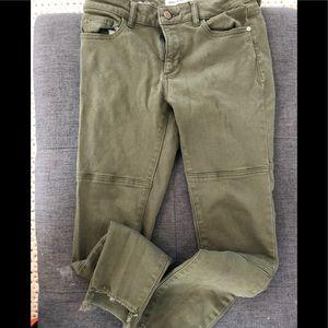 DL1961 Olive Jean with frayed asymmetrical hem.